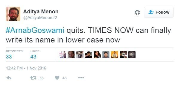 Tweet from @AdityaMenon22: Arban Goswami quite. TIMES NOW can finally write its name in lower case now