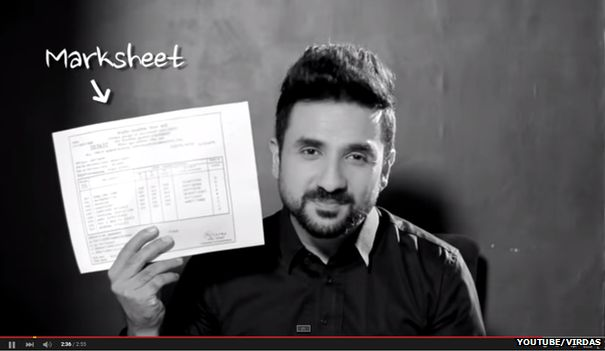 """Screenshot from Indian comedian Vir Das' """"On Your Marks"""" YouTube video"""