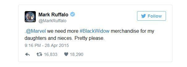 Mark Ruffalo writes: @Marvel we need more #BlackWidow merchandise for my daughters and nieces. Pretty please.