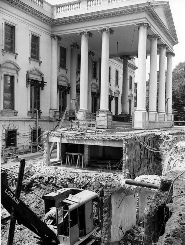 View at northeast corner of the White House during renovation. 1950