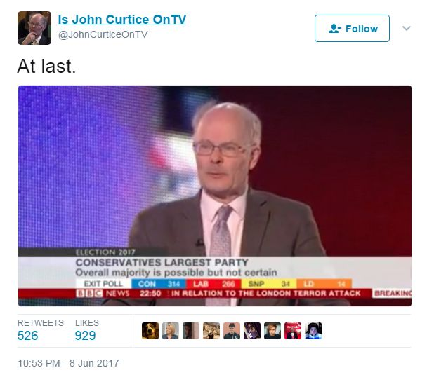 """Tweet, with a picture of John Curtice, saying """"At last"""""""