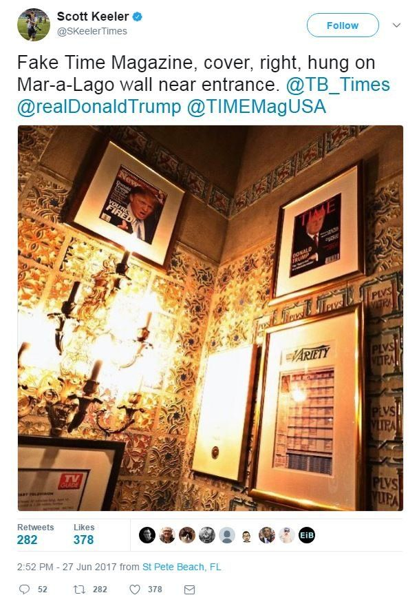 """A tweet from photographer Scott Keeler shows the fake cover on a wall, with the words, """"Fake Time Magazine, cover, right, hung on Mar-a-Lago wall near entrance""""."""