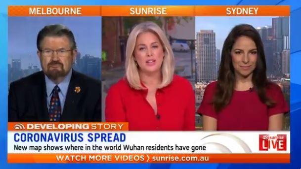 Screenshot of Sunrise TV programme in Australia discussing the map