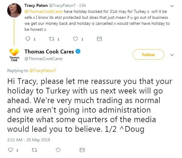 Tweet between Thomas Cook and customer