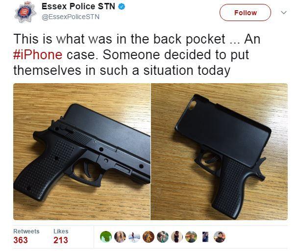 An iPhone holder in the shape of a gun