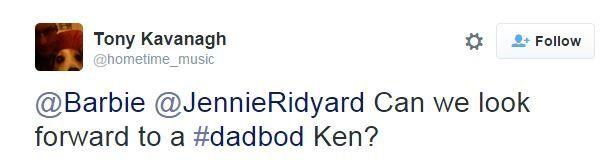Tweet reads: Can we look forward to a dadbod Ken?