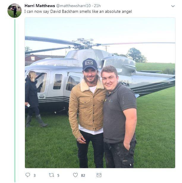 Tweet from a fan about Beckham's visit