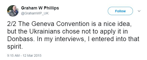 Graham Phillips on Twitter, saying that he chose not to apply the Geneva Convention to his work
