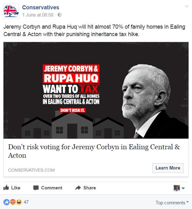 """Conservative advert, saying: """"Don't risk voting for Jeremy Corbyn in Ealing Central & Acton"""""""