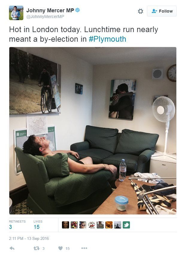 Johnny Mercer MP on Twitter: Hot in London today. Lunchtime run nearly meant a by-election in Plymouth. Photo: Johnny Mercer relaxing in front of an electric fan.