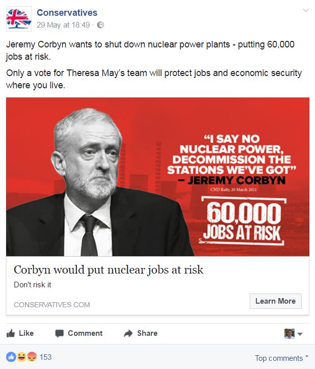 An example of a hyper-targeted Conservative advert seen in Derby North. Labour won the seat