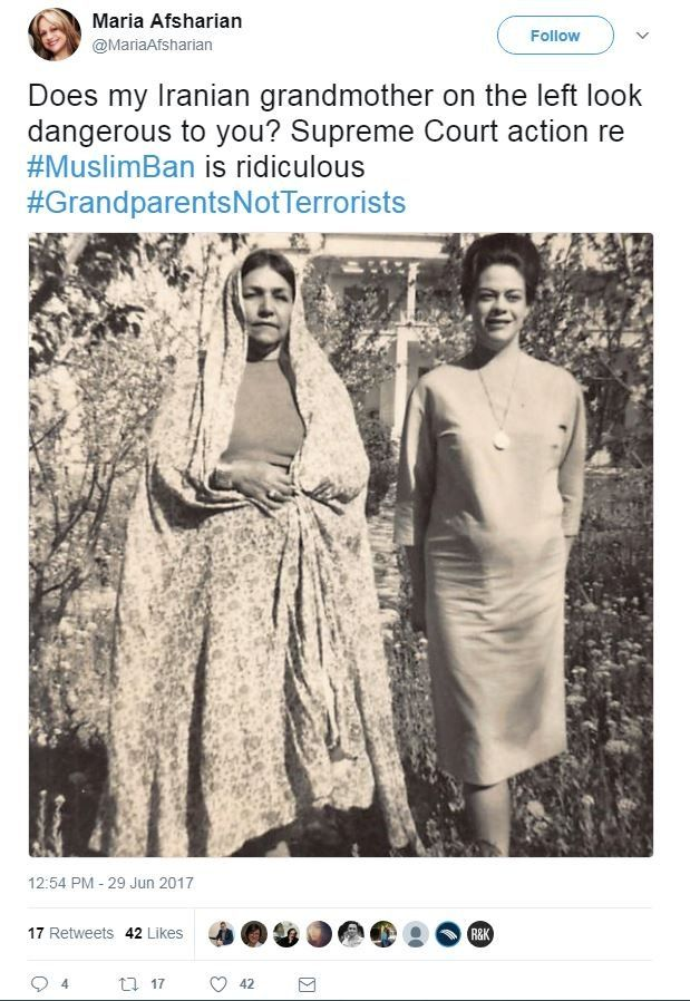 """Twitter user Maria Afsharian shared a picture of her grandmother with the words, """"Does my Iranian grandmother on the left look dangerous to you? Supreme Court action re #MuslimBan is ridiculous."""""""
