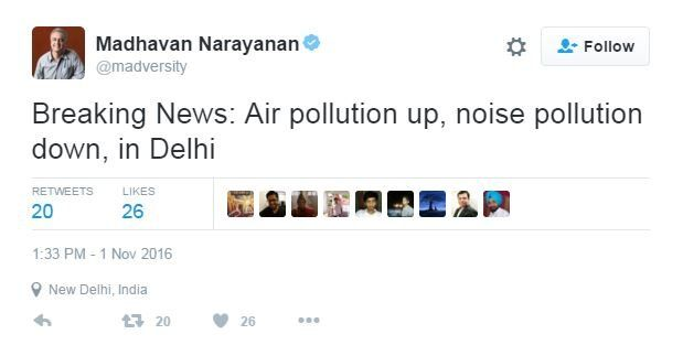 Tweet from @madversity: Breaking News: Air pollution up, noise pollution down in Delhi