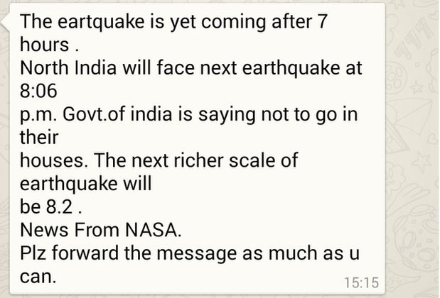 Screenshot of a WhatsApp message warning about earthquakes