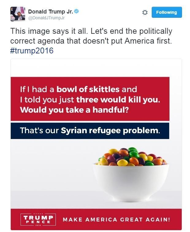"""Picture of a bowl of skittles. Accompanying text says: """"If I had a bowl of skittles and I told you just three would kill you, would you take a handful?''"""