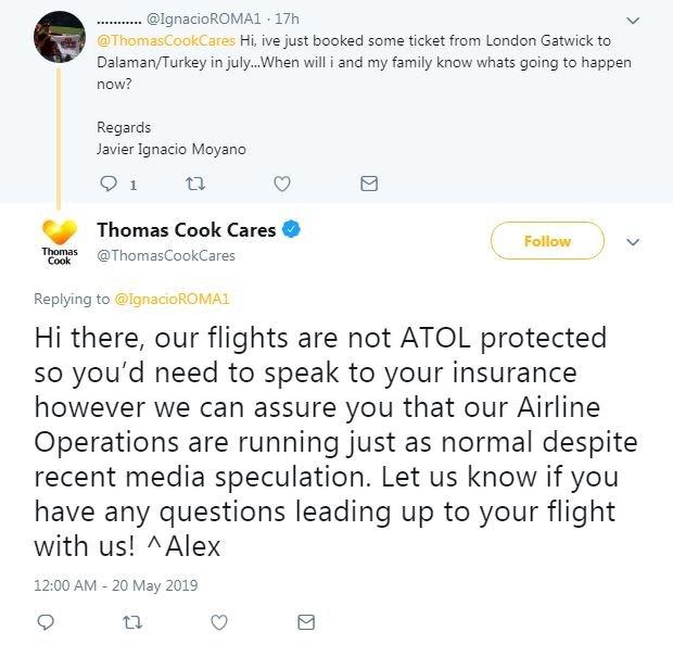 Twitter exchange between Thomas Cook and customer