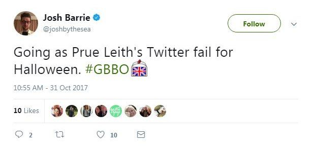 Going as Prue Leith's Twitter fail for Halloween