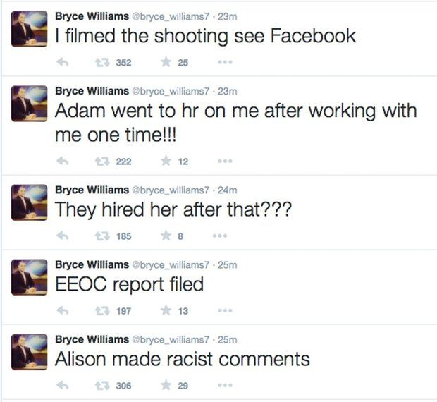 Twitter messages Vester Lee Flanagan posted on Wednesday