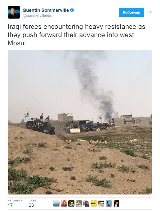 Quentin Sommerville tweet from Mosul: Iraqi forces encountering heavy resistance