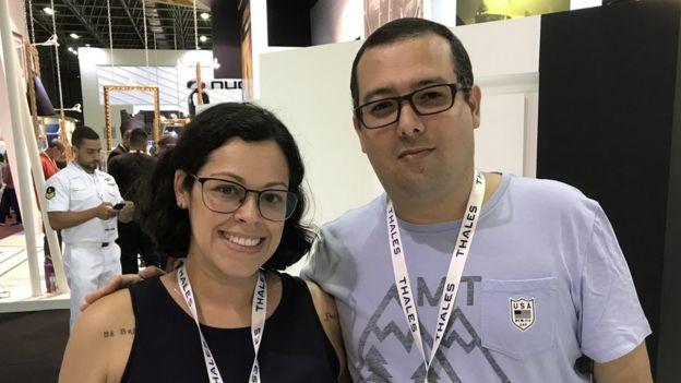 Natasha Imata and her husband Vitor at the LAAD Expo