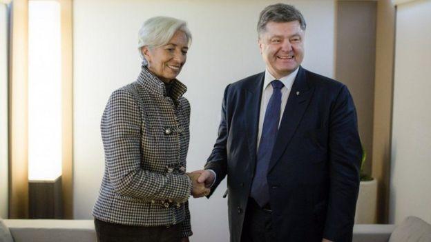 Керівник МВФ Крістін Лагард та Петро Порошенко