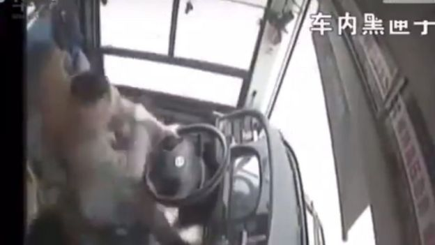 Driver of the bus strikes the passenger
