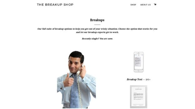 El sitio de The Breakup Shop en internet