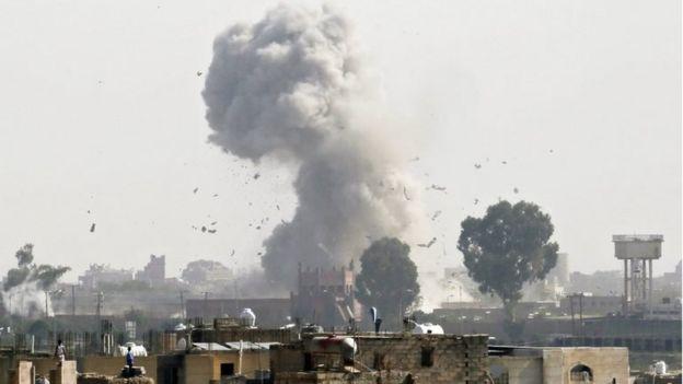 Smoke rises above Sanaa after Saudi-led coalition air strike (file photo)