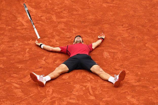 Novak Djokovic en Roland Garros en 2016.