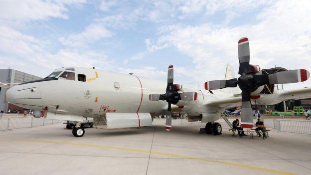 """新西兰在1966年购买多架P-3""""猎户座""""海上巡逻机,服役至今。图为德国国防军的同型号飞机。"""