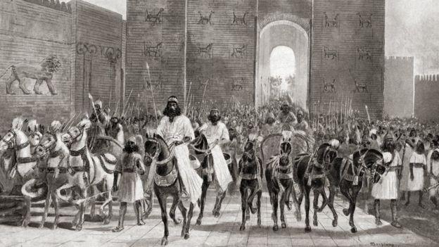 تصویرسازی از لحظه ورود کوروش، پادشاه هخامنشیان به شهر بابل