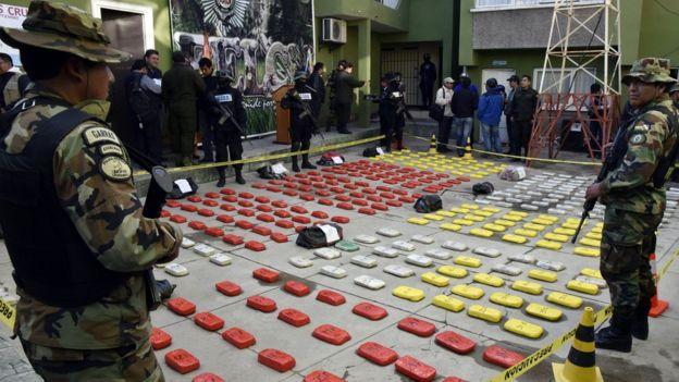Cocaína apreendida na Bolívia