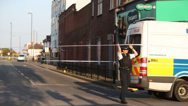 Police cordon at Wealdstone High Street