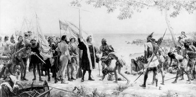 Grabado del contacto de Colón con los pueblos indígenas del Caribe