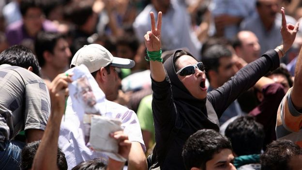 Protestas en Teherán por las elecciones de 2009.