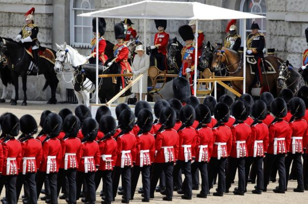 The Queen inspected the lines of guardsmen as part of the parade