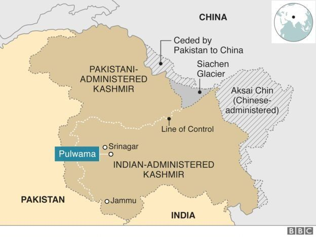 A map showing that Kashmir is divided between Pakistan and India