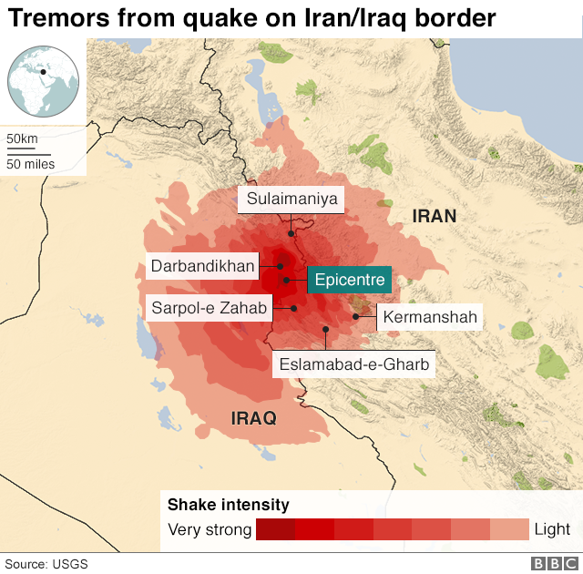 Iran iraq earthquake the villages have vanished bbc news a map showing an earthquake in the iran iraq border region gumiabroncs Image collections