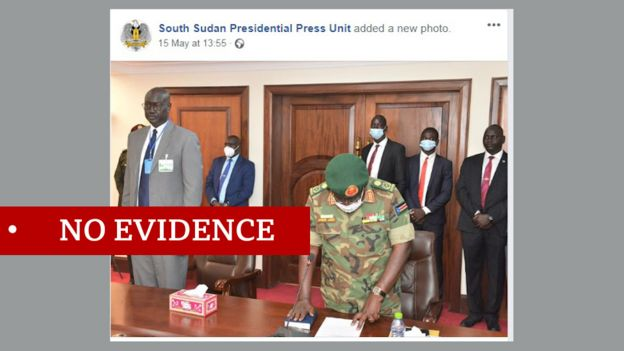 Screen grab of Facebook post by South Sudan government