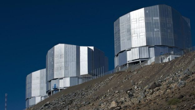Three of the four telescopes that ESO has in Paranal, in Chile