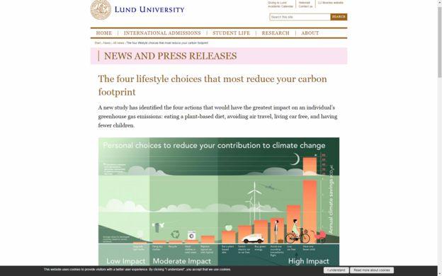 Sitio web de la Universidad Lund que muestra el estudio