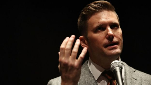 White nationalist Richard Spencer speaks during a press conference in Gainesville, Florida