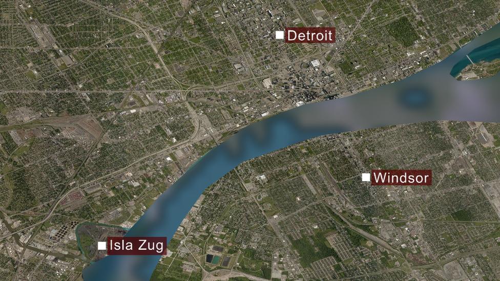 Un mapa de Windsor, Detroit y la isla Zug