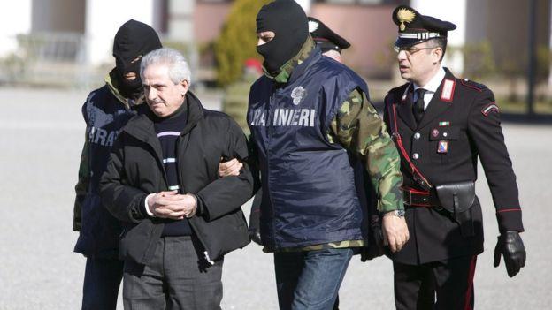 Pasquale Condello, chefe da máfia italiana, ao ser preso em 2008