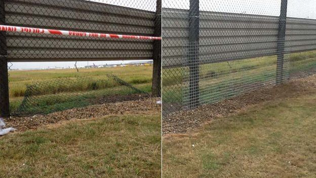 Cut fence at Heathrow (left) and repaired fence (right)