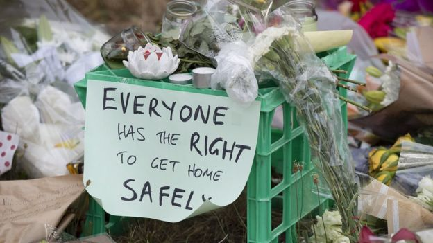 A sign left among tributes to murdered student Aya Maasarwe reads 'Everyone has the right to get home safely'