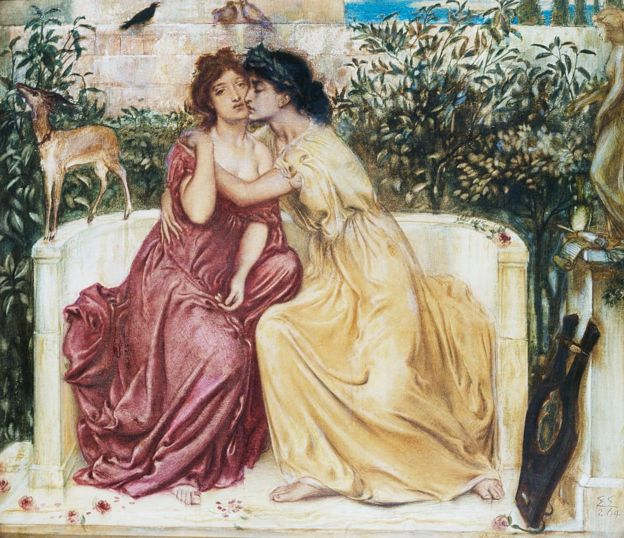 Safo y Erinna en un jardín en Mitilene, de Simeon Solomon.