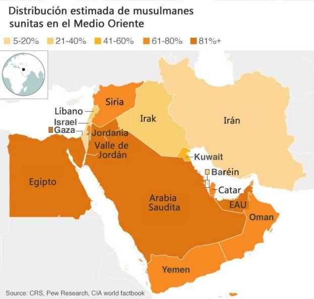 Mapa distribución musulmanes sunitas
