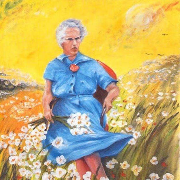 Pintura de uma senhora de vestido azul sobre um campo de flores