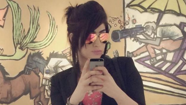 """A selfie from the Facebook page of social media celebrity Qandeel Baloch, who was strangled in what appeared to be an """"honour killing,"""" in Multan, Pakistan July 16, 2016."""